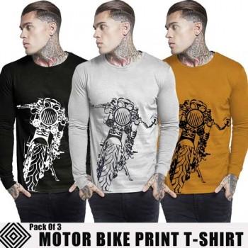 Pack of 3 Motor Bike Print T-Shirt