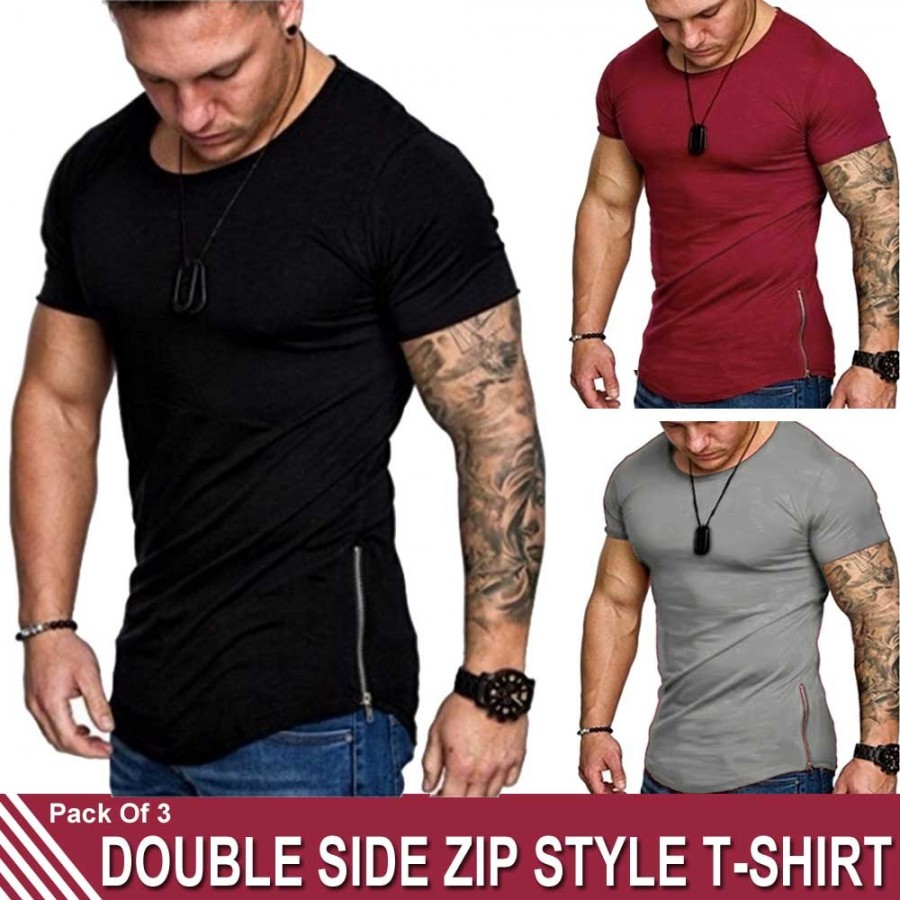 Pack of 3 Double Side Zip Style T-Shirt