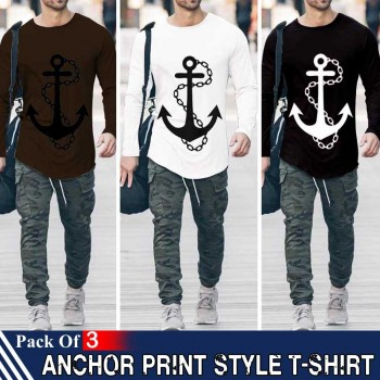 Pack of 3 Anchor Print Style T-Shirt