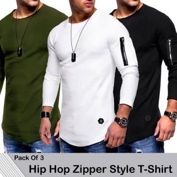 Pack of 3 Hip Hop Zipper Style T-Shirt