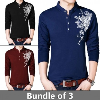Pack of 3 Chest Flower T-Shirts - Design 5