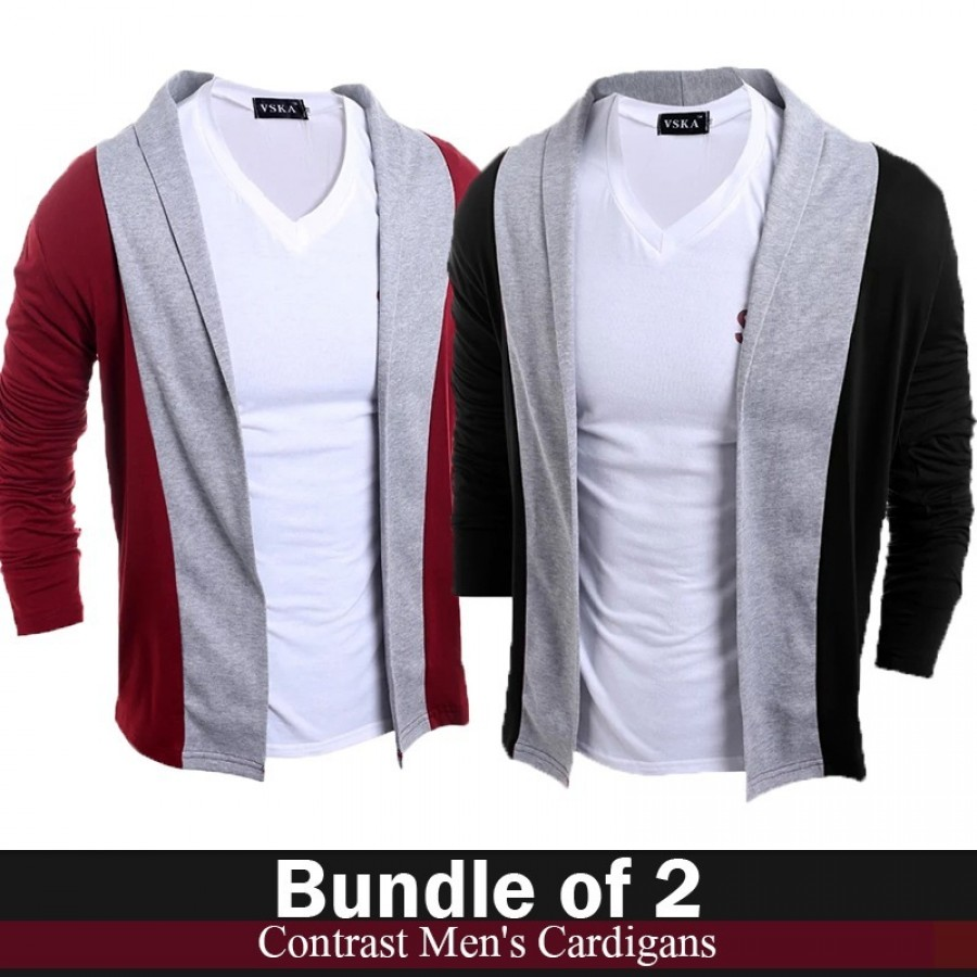 Bundle of 2 Contrast Men Cardigans