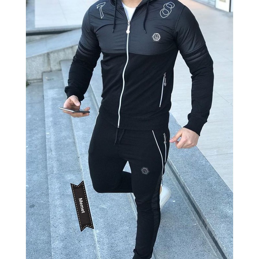 Black Stylish Men 2020 Track Suit with Hoodie and Trouser for Men - Design 11