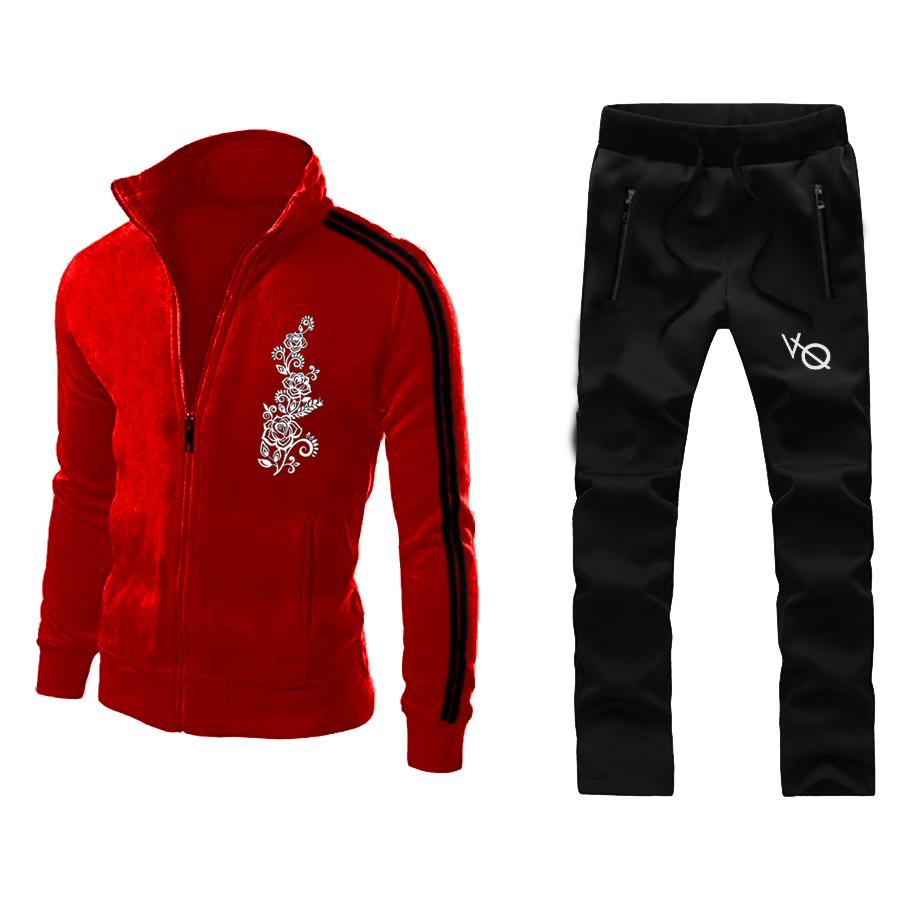 Chest Flower Mahroon Stylish Men Track Suit Design 14
