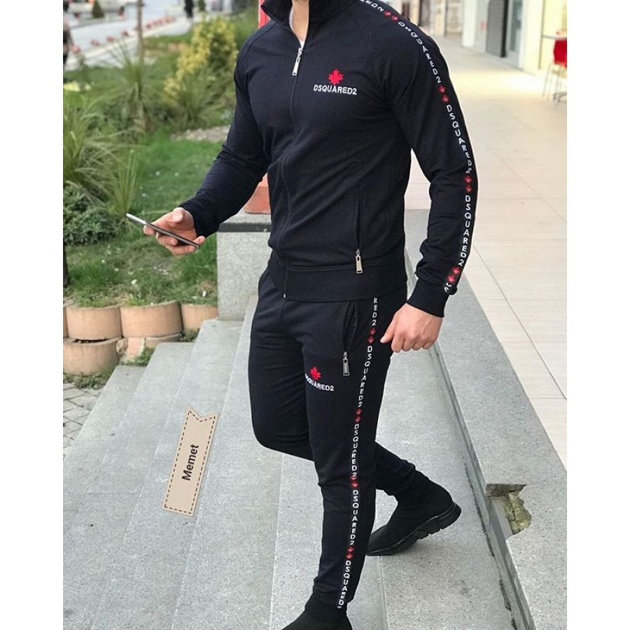 Black Stylish Men 2020 Track Suit with Hoodie and Trouser for Men Design 16