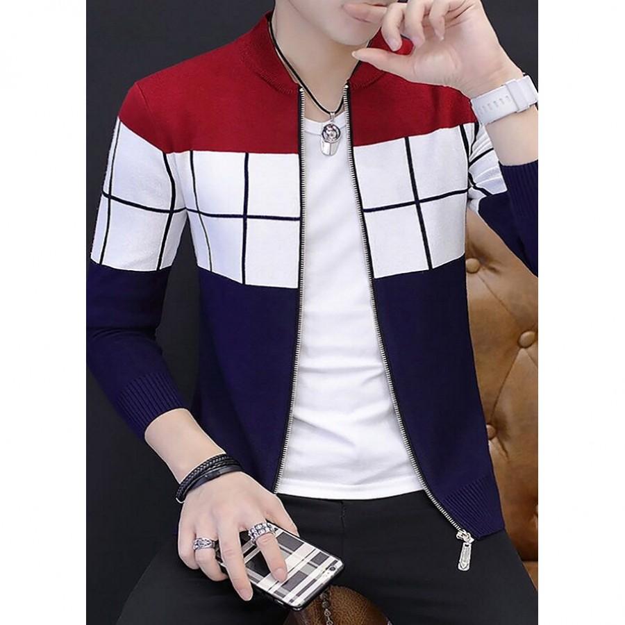 Checkered Panel Zipper Jacket For Men