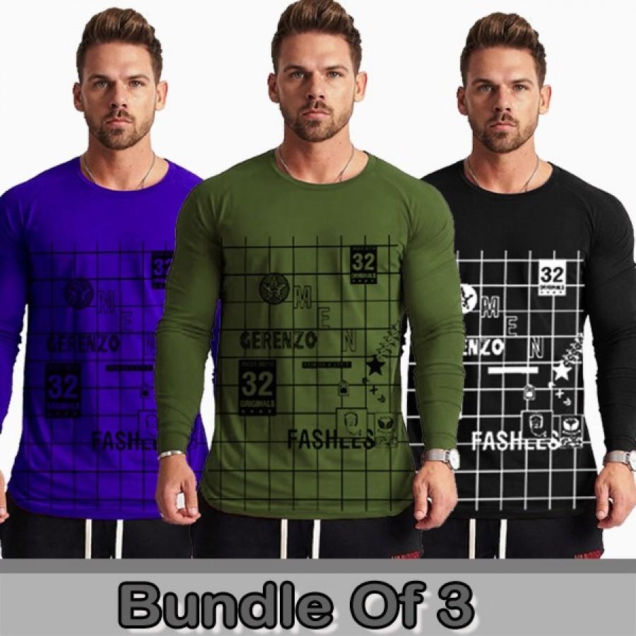 Bundle of 3 Round Neck Full Sleeves Fashion Printed T-Shirts