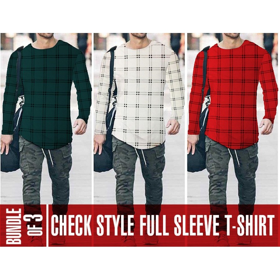 Bundle of 3 Check Style Full Sleeve T-Shirts