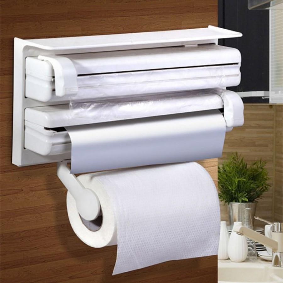 Triple Paper Dispenser Tri wrap, Foil Paper, Cling Cutter, Kitchen Tool