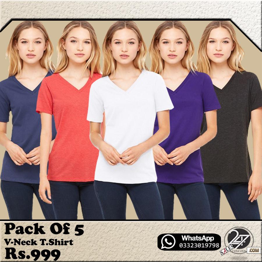 PACK OF 5 FEMALE V-NECK T-SHIRTS.