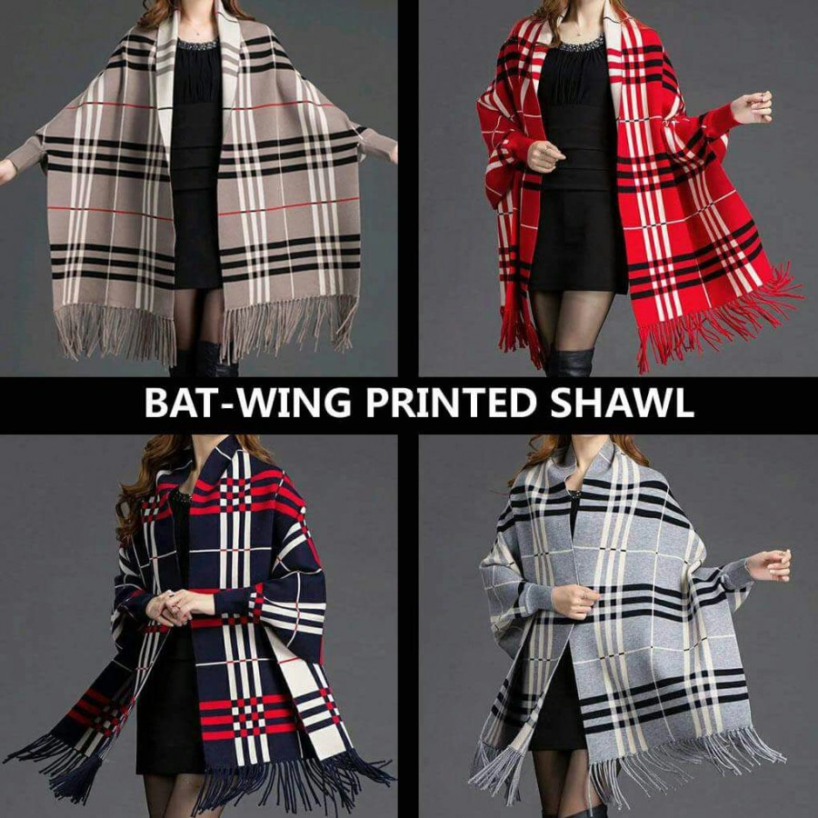 Bat-Wang Printed Checkered Shawl