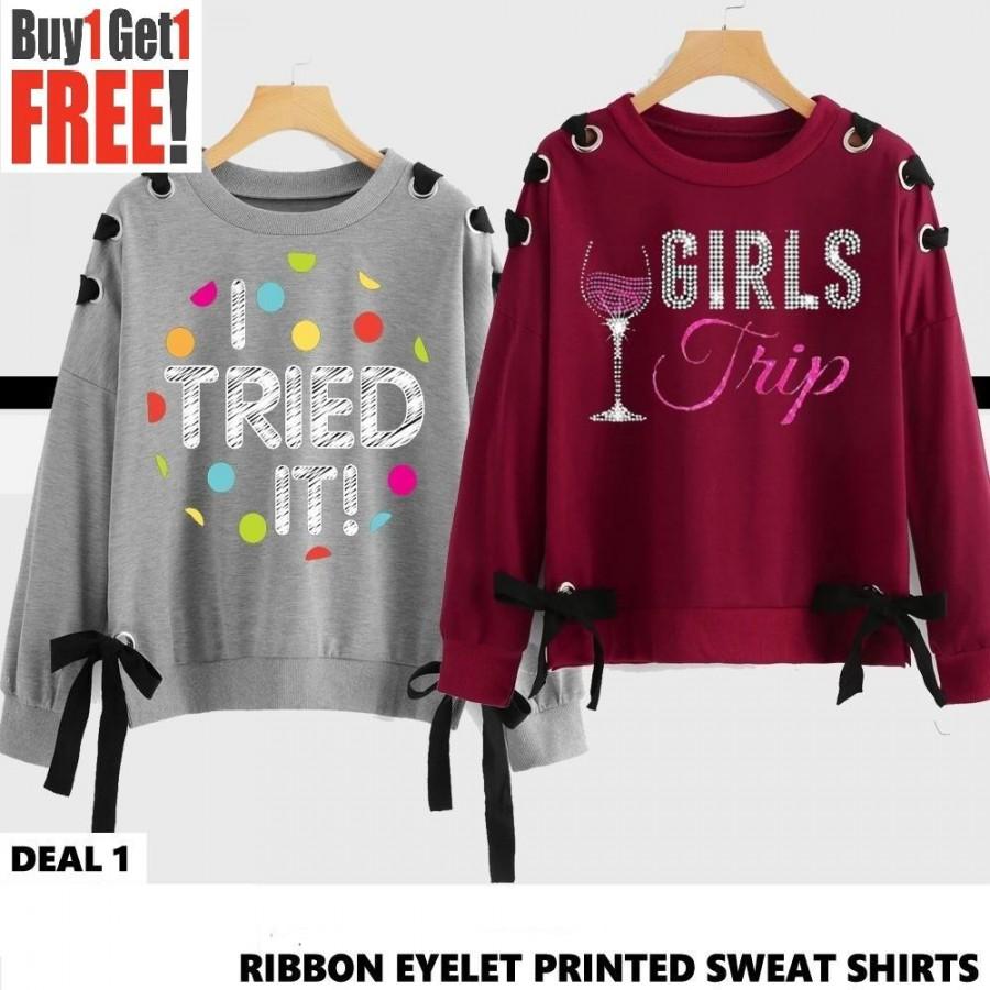 Buy 1 Get 1 Free Printed Ribbon Eyelet Sweat Shirts