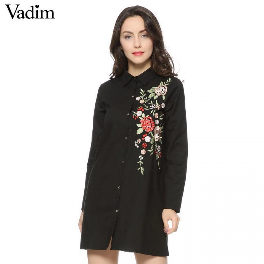 Black Embroidered Button Shirt