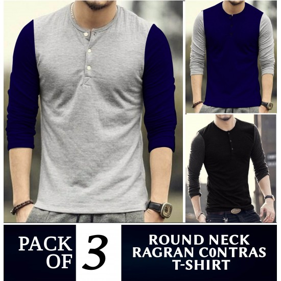 Pack of 3 Round Neck Raglan Contrast T-Shirts