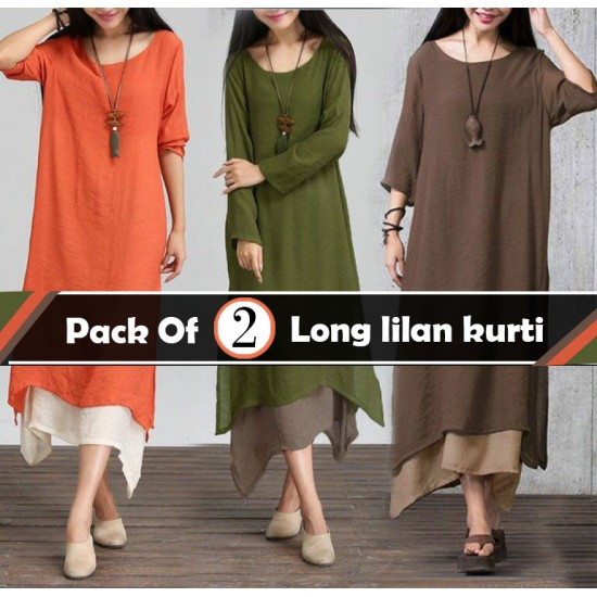 Pack Of 2 Long lilan kurti