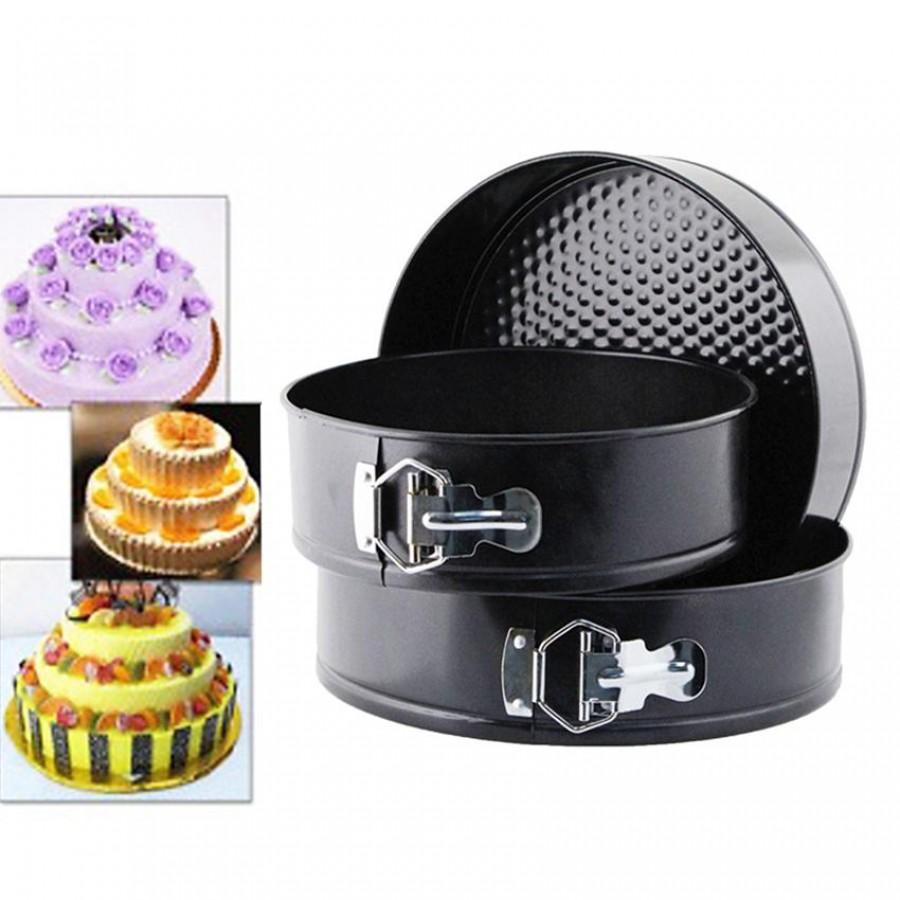 Set of 3 Round Shape Cake Mould – Black