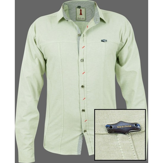 Moss Chambray Smart Casual Shirt Design 1
