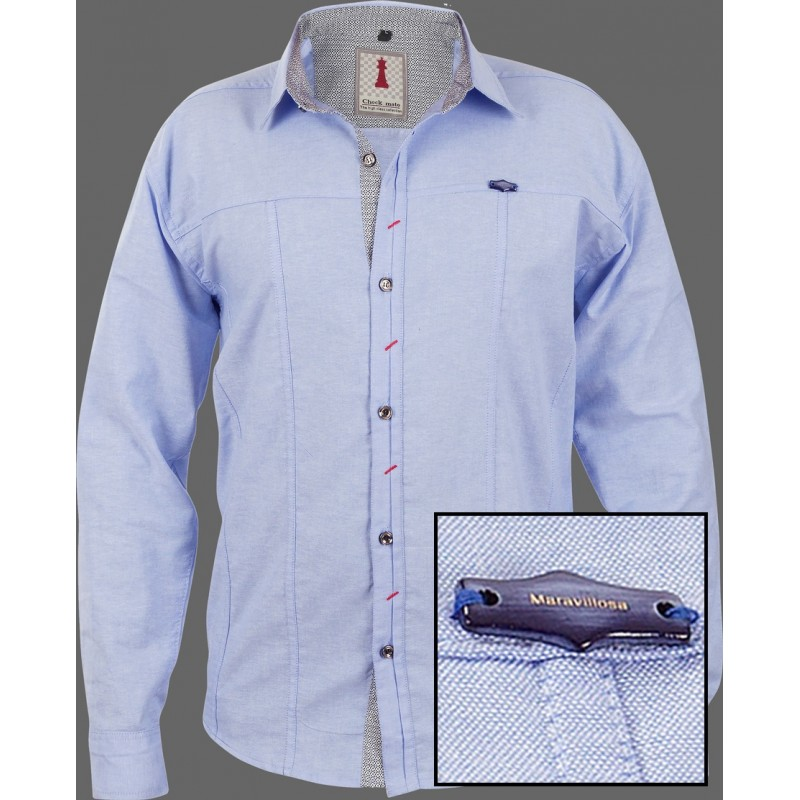 Sky Chambray Smart Casual Shirt Design 1