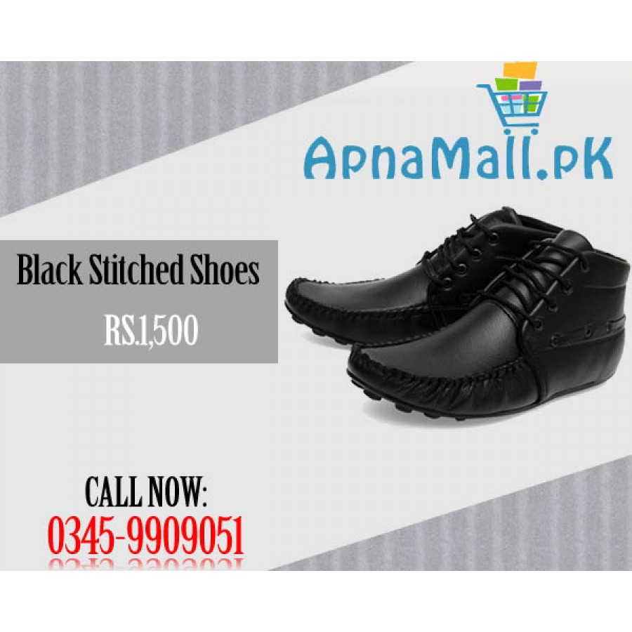Casual Black Stitched Shoes for HIM