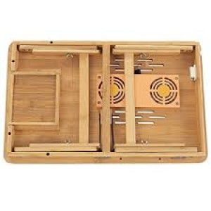 Wooden Laptop Table with Cooling Fan (Free Mobile Protection Tool)