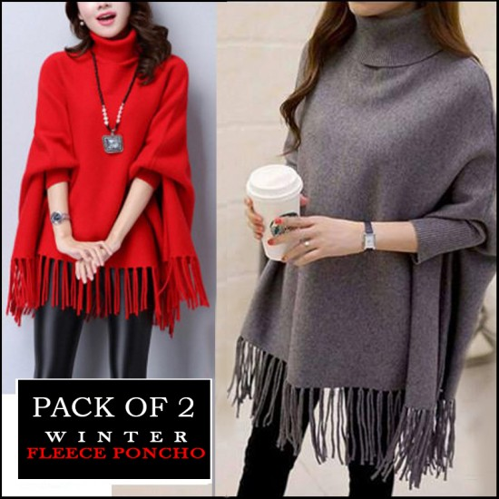 Pack Of 2 Winter Fleece Poncho