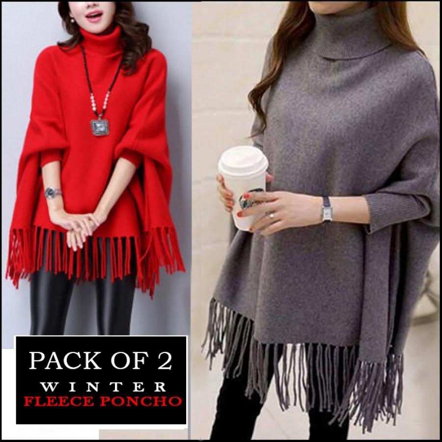 Pack Of 2 Winter Fleece Poncho