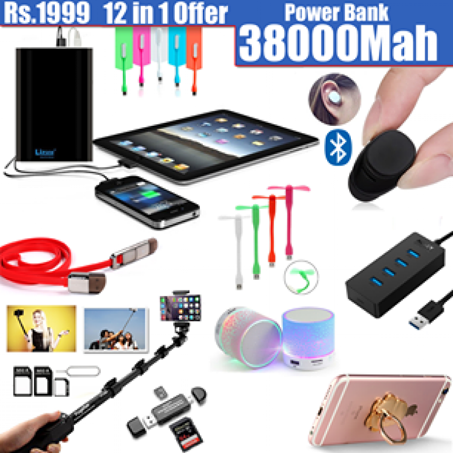 12 in 1 Amazing 38000Mah Power Bank 12 in 1 Offer in Just Rs.1999