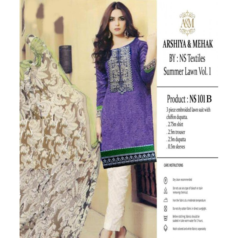 Arshiya And Mehak Summer lawn Vol.1 2017 Design 101 B