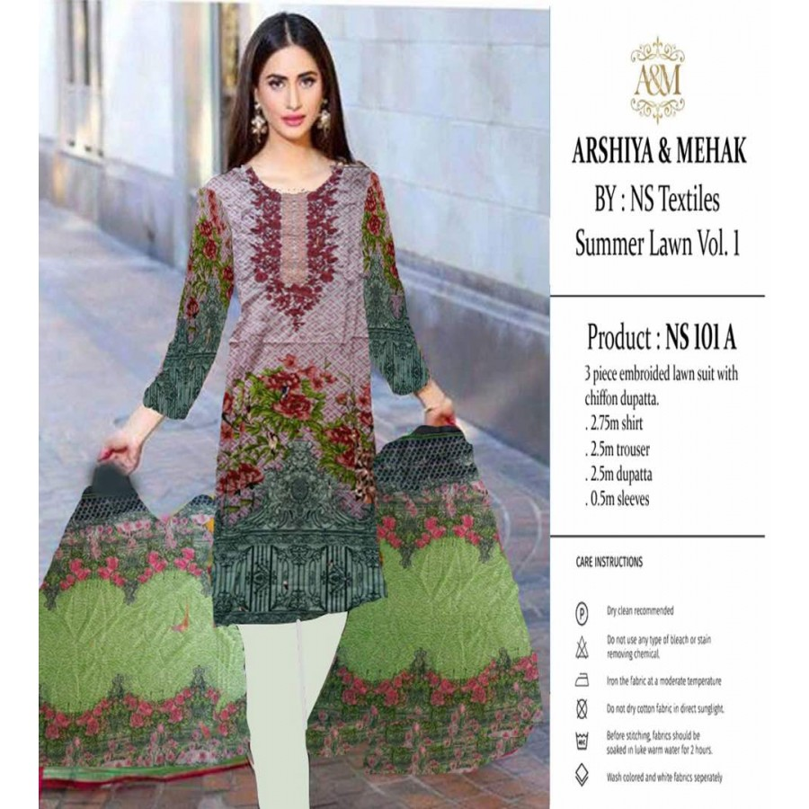 Arshiya And Mehak Summer lawn Vol.1 2017 Design 101 A
