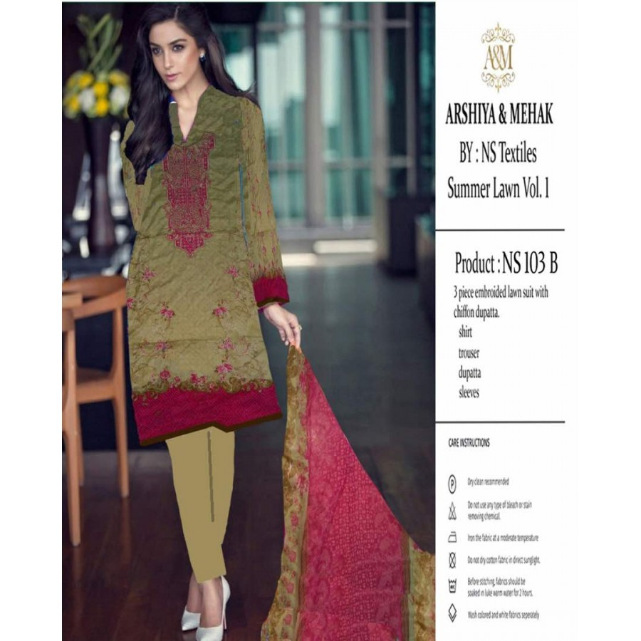 Arshiya And Mehak Summer lawn Vol.1 2017 Design 103 B