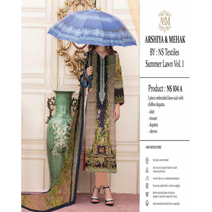 Arshiya And Mehak Summer lawn Vol.1 2017 Design 104 A
