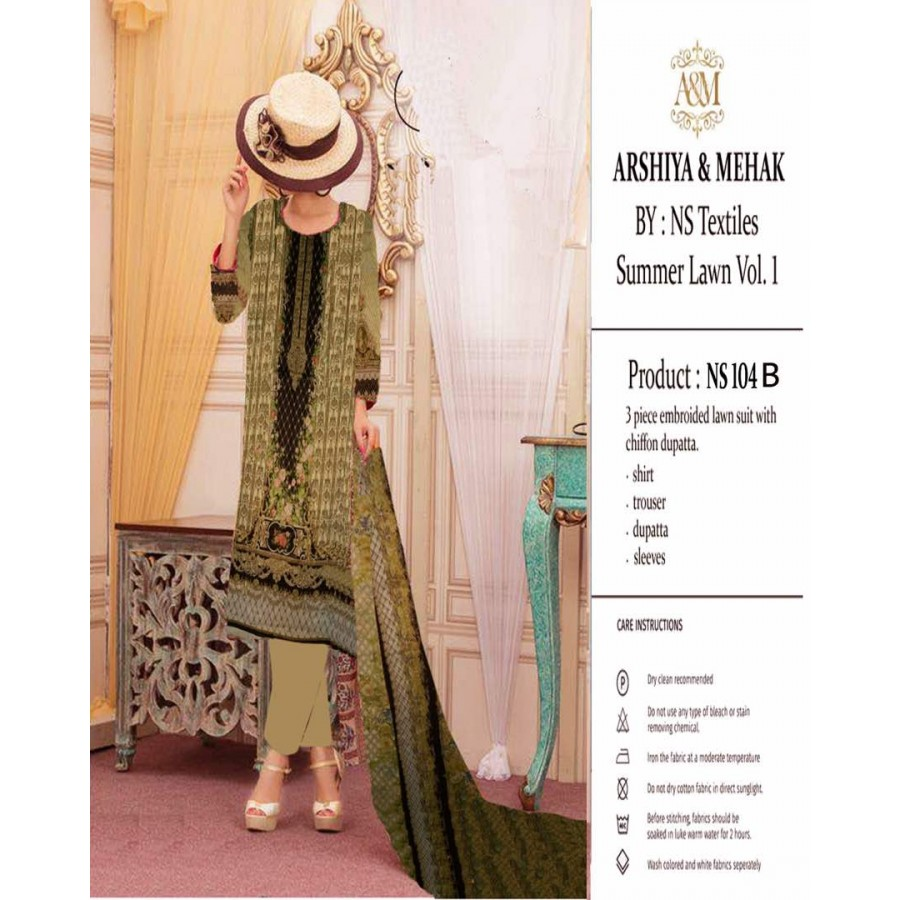 Arshiya And Mehak Summer lawn Vol.1 2017 Design 104 B