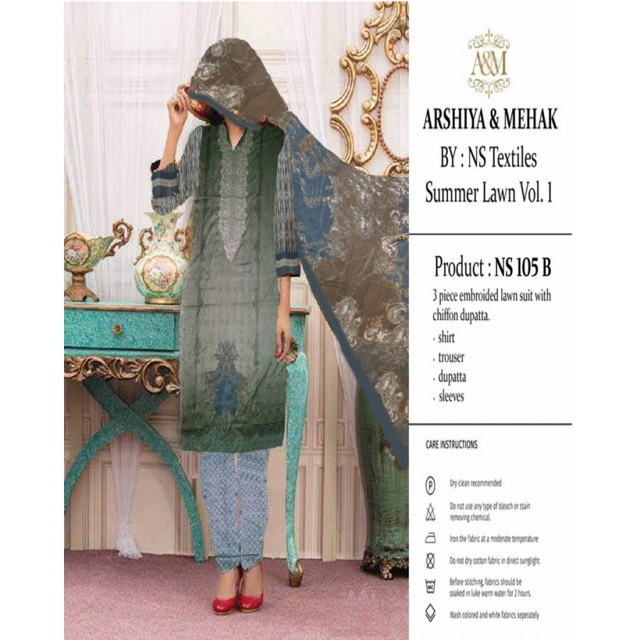 Arshiya And Mehak Summer lawn Vol.1 2017 Design 105 B