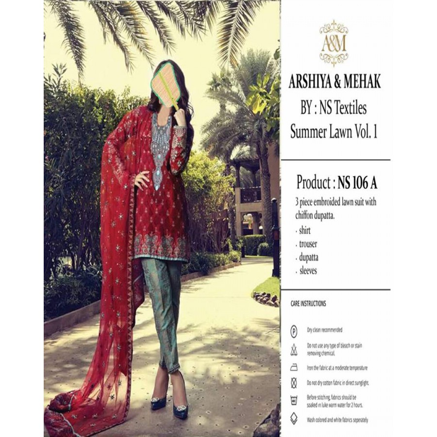 Arshiya And Mehak Summer lawn Vol.1 2017 Design 106 A