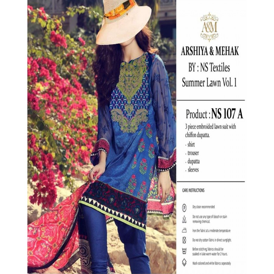 Arshiya And Mehak Summer lawn Vol.1 2017 Design 107 A
