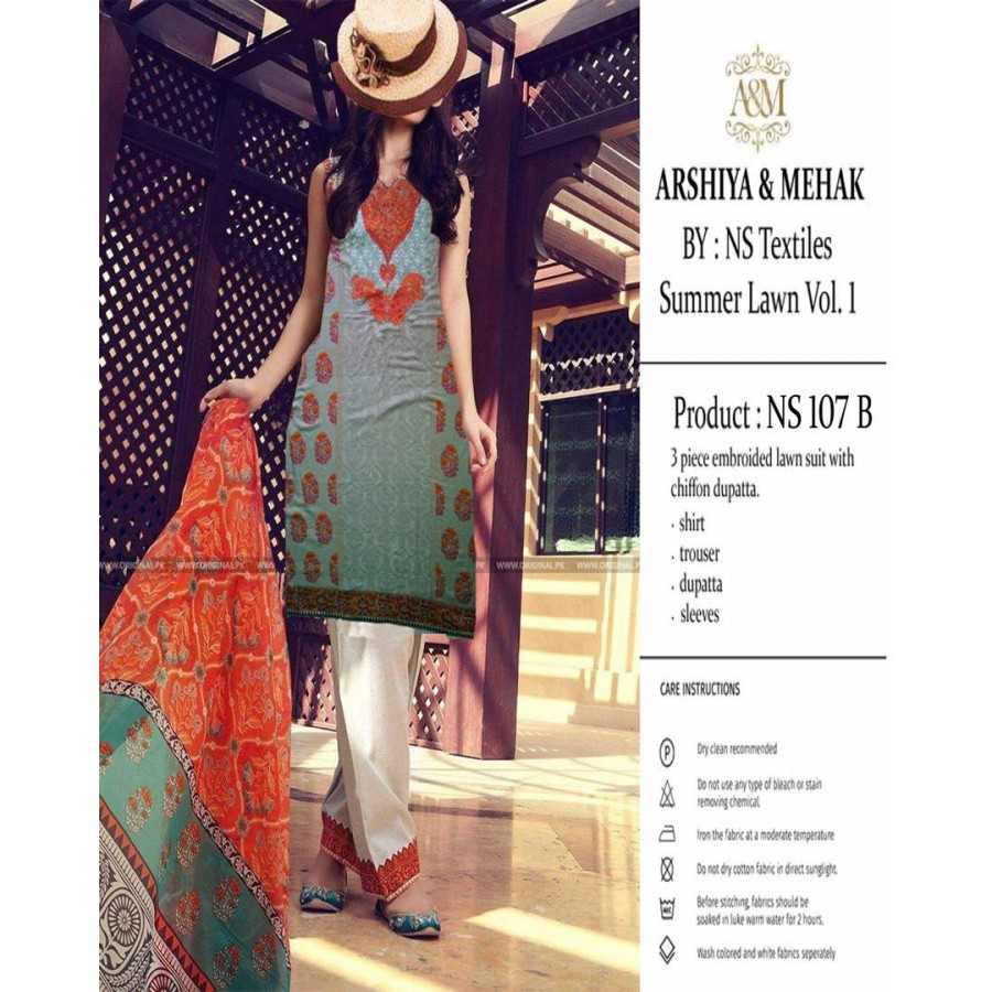 Arshiya And Mehak Summer lawn Vol.1 2017 Design 107 B