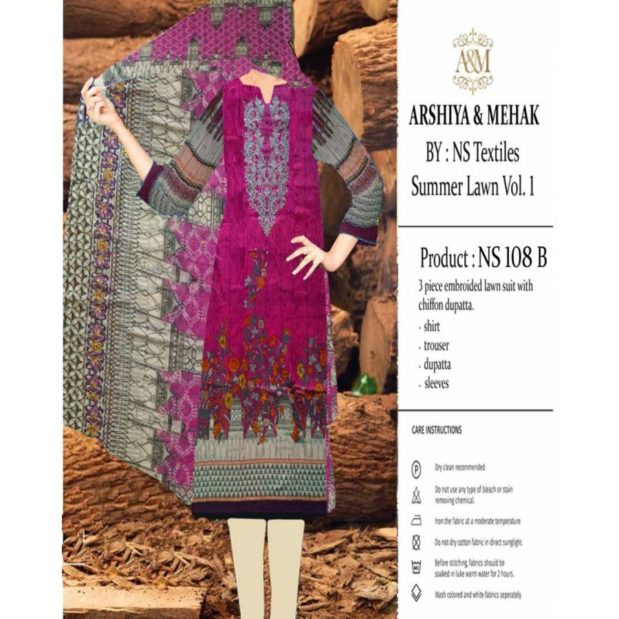 Arshiya And Mehak Summer lawn Vol.1 2017 Design 108 B