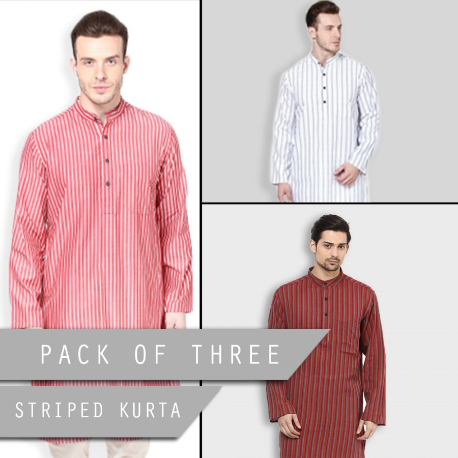 Pack of Three Ready-Made Striped Kurta