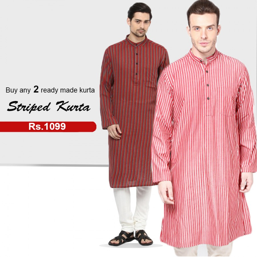 Buy any 2 Ready-Made Striped Kurta
