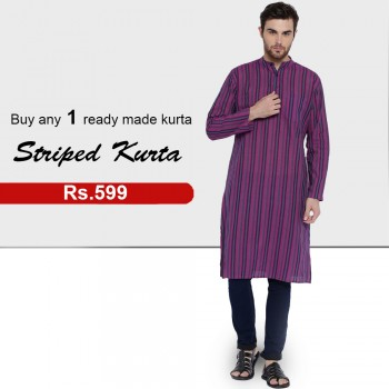 Buy any 1 Ready-Made Striped Kurta