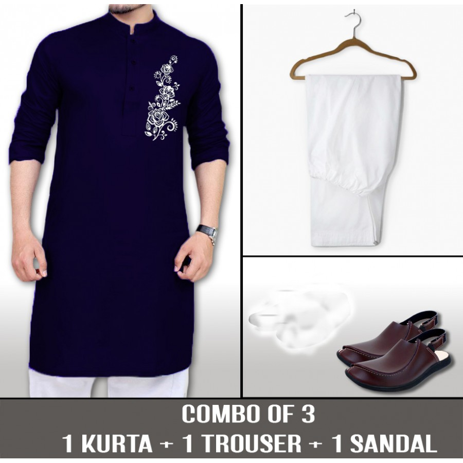 1 CHEST FLOWER KURTA + 1 TROUSER + SANDALS