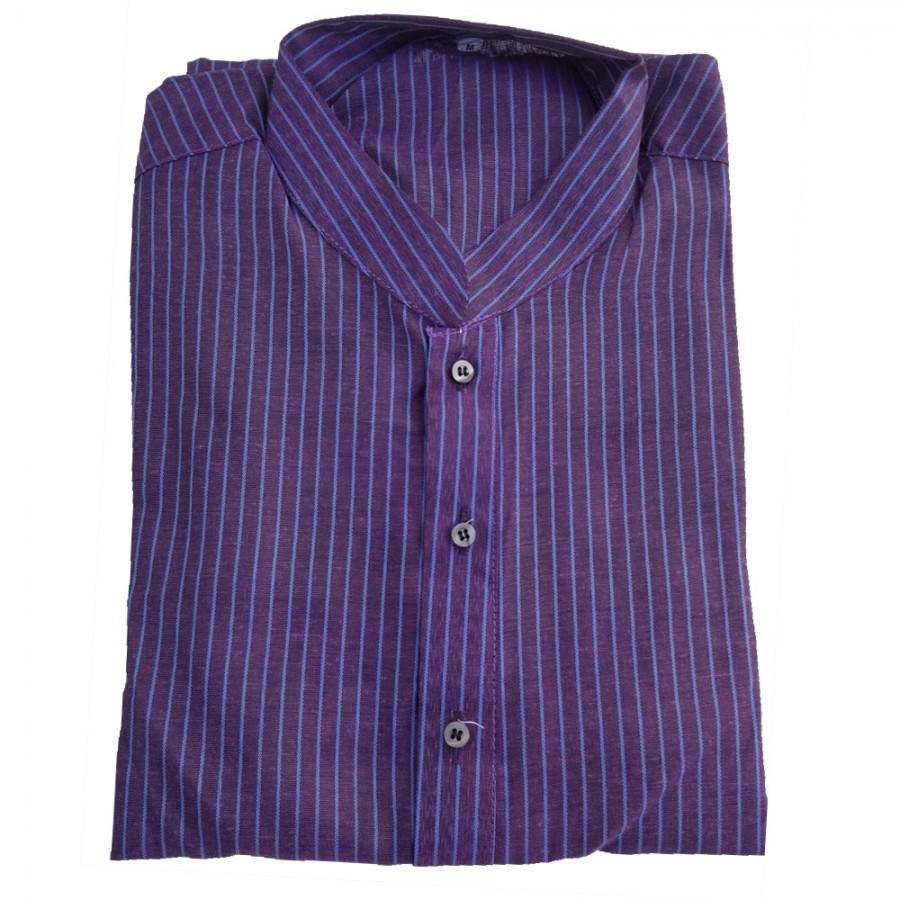 Magenta Yarn Dyed Stripes Kurta for Men - Design 1