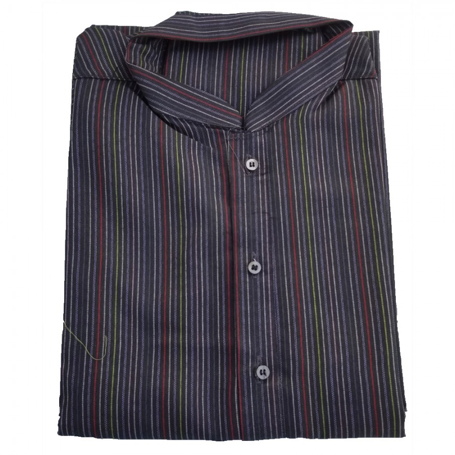 Black Yarn Dyed Stripes Kurta for Men - Design 2