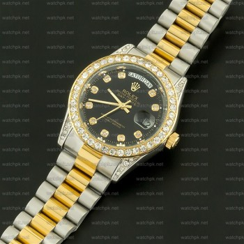 Rolex Oyester Perpetual Day Date II - Diamonds Gold and Black