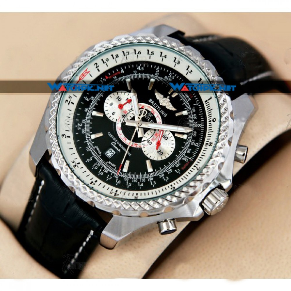 band replica chronograph black with watch dial breitling shop motors bentley store leather watches