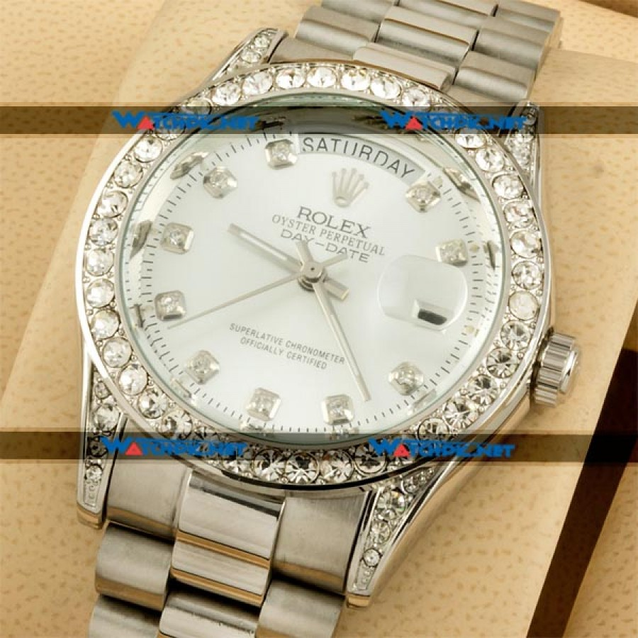 Rolex Oyester Perpetual Date Just Diamonds Silver