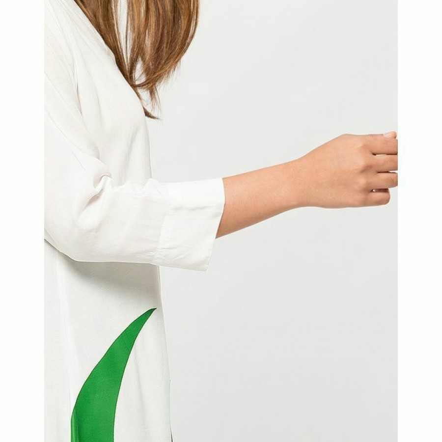 Independence Day Front Open Button White Shirt