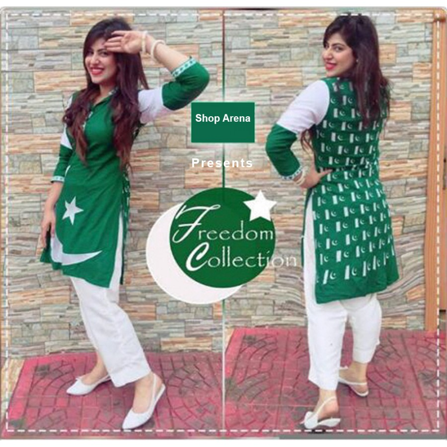 Independence day Green Full Printed Kurti