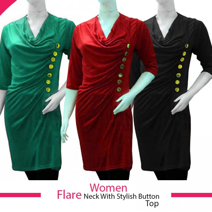 Pack of 2 Women Flare Neck With Stylish Buttons Top