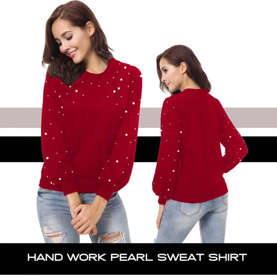 HAND WORK PEARL SWEAT SHIRTS ( MAROON )